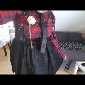 Dresses & Skirts - 🦇 Plaid punk style suspender skirt. 🦇
